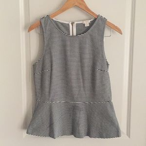 Jcrew Factory Peplum Top, Navy / White, Sz S